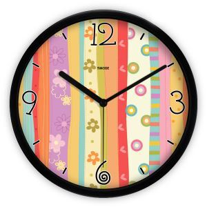 Modern Simple Metal Abstract Colorful Strip Round Mute Wall Clock