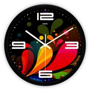 Modern Fashion Simple Metal Abstract Colorful Round Mute Wall Clock