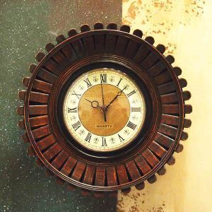 Vintage American Wrought Iron Bamboo-weaving Round Mute Wall Clock