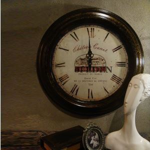 Vintage European Wrought Iron Round Mute Wall Clock Non-ticking