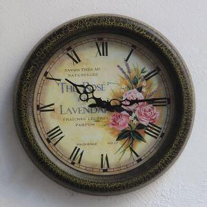 Vintage European Pastoral Metal PVC Round Mute Wall Clock