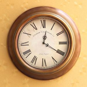 Vintage European Metal Antique Bronze Round Mute Wall Clock