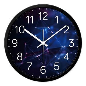 Simple Fashion Metal  Round Mute Digital Wall Clock