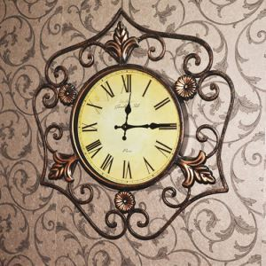 Vintage European Antique Wrought Iron Round Mute Wall Clock