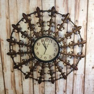 Vintage European Wrought Iron Round Mute Digital Wall Clock