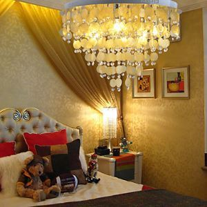 Chrome Finish Yellow Shell + Crystal Pendant Chandelier with 7 lights (K9 Crystal)