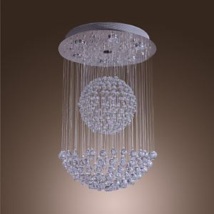 50W Modern Crystal Pendant Light with 7 Lights and Crystal Beaded Globe Decor (GU10 Base)