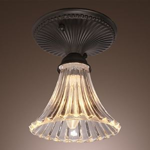40W Minimalist Ceiling Light with Glass Floral Down Shade