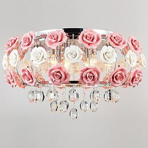 Idyllic Modern Crystal 5 Light Pendant Decorated with Pink Flower