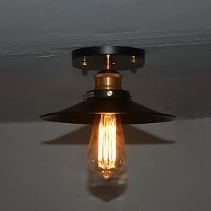 Vintage 1 Light Flush Mount In Iron Shade