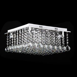 Crystal Flush Mount, 4 Light, Modern Cubic Stainless Steel Electroplating
