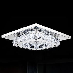 LED Crystal Flush Mount, 1 Light, Modern Transparent Electroplating Stainless Steel Energy Saving