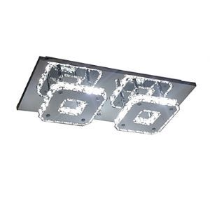 LED Crystal Flush Mount, 2 Light, Modern Transparent Electroplating Stainless Steel Energy Saving