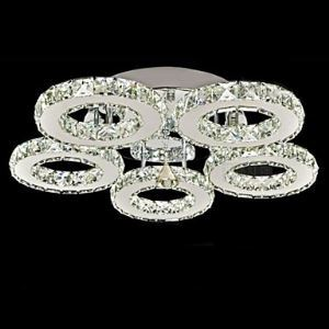 LED Crystal Flush Mount, 5 Lights, Modern Transparent Electroplating Stainless Steel