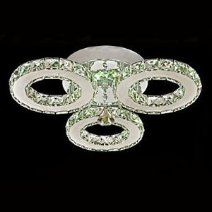 LED Crystal Flush Mount 3 Lights Modern Transparent Electroplating Stainless Steel Energy Saving