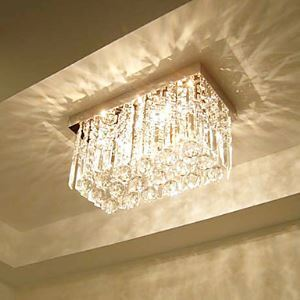 Crystal Flush Mount, 3 Light, Dainty Metal Glass Electroplating