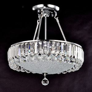 Crystal Flush Mounted Bowl Ceiling Light
