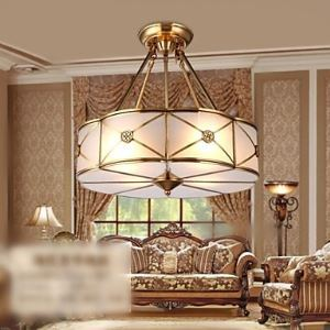 Brass Pendant Lamp, Four Lights, Vintage Total Copper Glass (PU190004)
