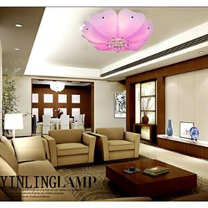 Flush Mount Crystal LED 4 Lights Fashion Flower-Shaped Absorb Dome Light Pink  White Sitting Room Dining-Room Lamp