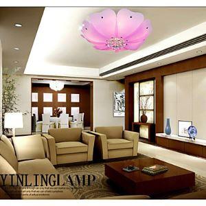 Flush Mount Crystal LED 4 Lights Fashion Flower-Shaped Absorb Dome Light Pink  White Sitting Room Dining-Room Lamp