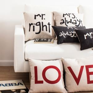 Letters Sofa Office Linen Cushion Cover Pillow Cover for Christmas Holiday Decor Christmas Pillow Christmas Gifts