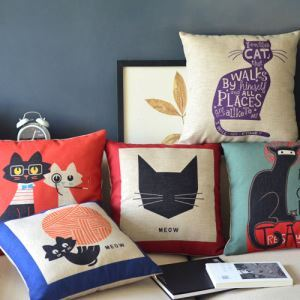 Modern Simple Kitty Sofa Office Linen Cushion Cover Pillow Cover 5 Designs
