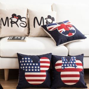 American Country Mickey Mouse Sofa Office Linen Cushion Cover Pillow Cover