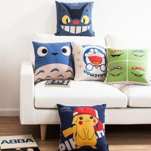 Modern Simple Doraemon Totoro Sofa Office Linen Cushion Cover Pillow Cover