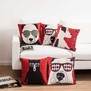Modern Simple Cartoon Animals Sofa Office Linen Cushion Cover Pillow Cover 4 Designs for Christmas Holiday Decor Christmas Pillow Christmas Gifts
