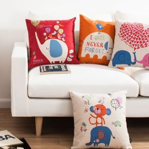 Korean style Cartoon Little Elephant Sofa Office Linen Cushion Cover Pillow Cover 4 Designs for Christmas Holiday Decor Christmas Pillow Christmas Gifts