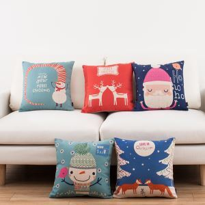 Christmas Sofa Office Linen Cushion Cover Pillow Cover 5 Designs for Christmas Holiday Decor Christmas Pillow Christmas Gifts