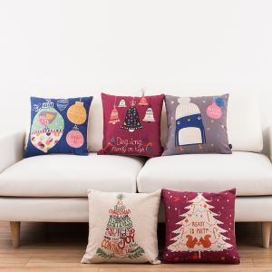 Chrsitmas Series Sofa Office Linen Cushion Cover Pillow Cover 5 Designs for Christmas Holiday Decor Christmas Pillow Christmas Gifts