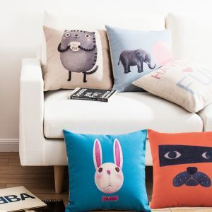 Cartoon Creative Animals Sofa Office Linen Cushion Cover Pillow Cover