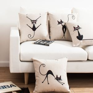 Modern Simple Elves Cat Sofa Office Linen Cushion Cover Pillow Cover