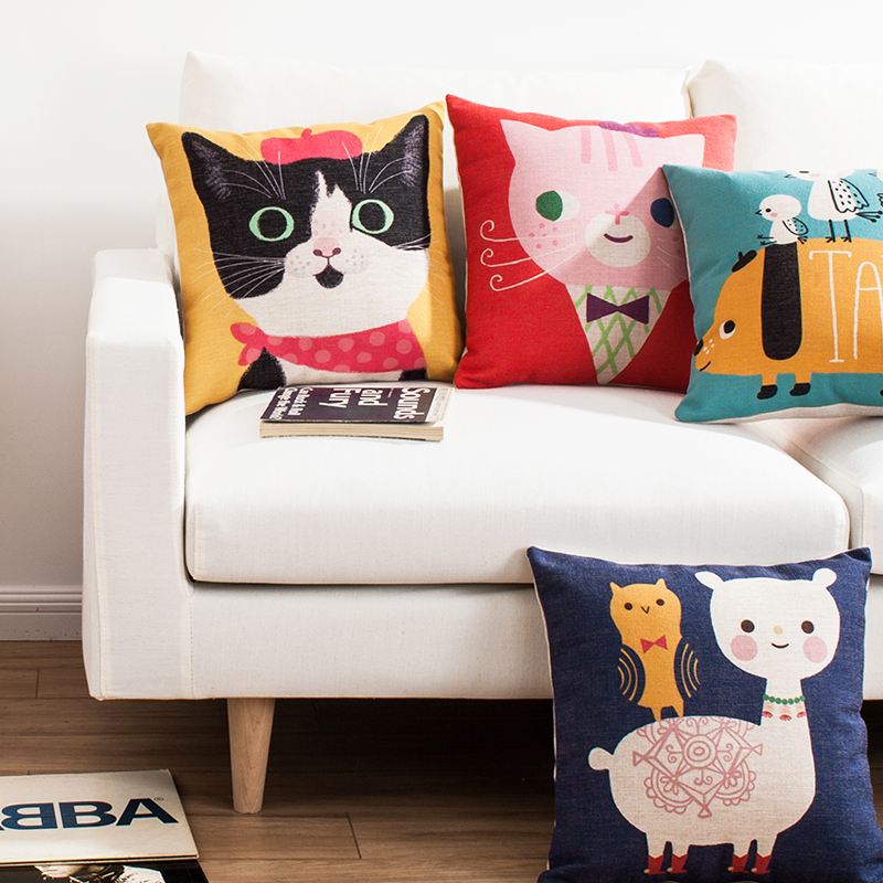 Cute Office Pillow : Home Textiles - Throws & Pillows - Korean style Cute Cartoon Animals Sofa Office Linen Cushion ...