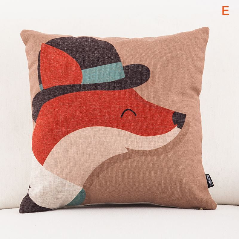 Cute Office Pillow : Home Textiles - Throws & Pillows - Modern Rural Cute Cartoon Animals Sofa Office Linen Cushion ...