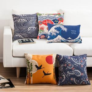 Japonic Style Fan River Wave Sofa Office Linen Cushion Cover Pillow Cover
