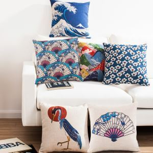 Japonic Style Sakura Fujiyama Crane Sofa Office Linen Cushion Cover Pillow Cover
