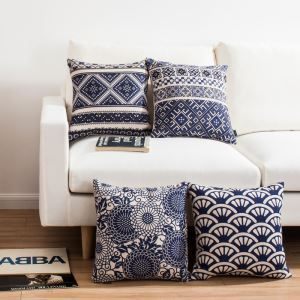 Classic Batik Sofa Office Linen Cushion Cover Pillow Cover