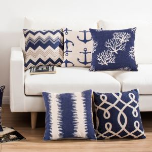 Fashion Pillow Case Mediterranean Blue Sofa Office Linen Cushion Cover Pillow Cover