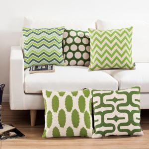 Mediterranean Green Sofa Office Linen Cushion Cover Pillow Cover for Christmas Holiday Decor Christmas Pillow Christmas Gifts