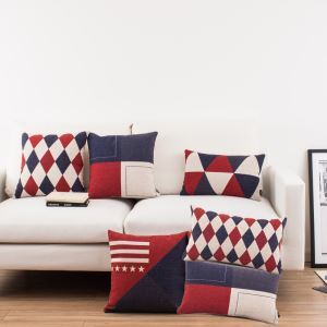 British Style Geometric Designs Sofa Office Linen Cushion Cover Pillow Cover 6 Designs for Christmas Holiday Decor Christmas Pillow Christmas Gifts