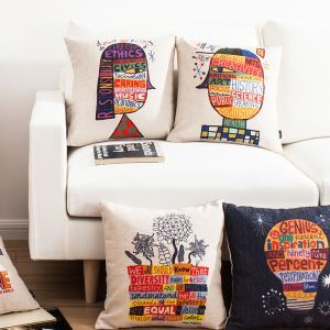 Modern Simple Cartoon Creative Artistic Sofa Office Cushion Cover Pillow Cover
