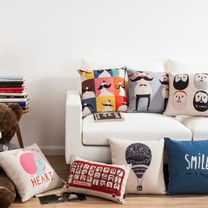 Modern Simple Cartoon Sofa Office Linen Cushion Cover Pillow Cover 7 Designs