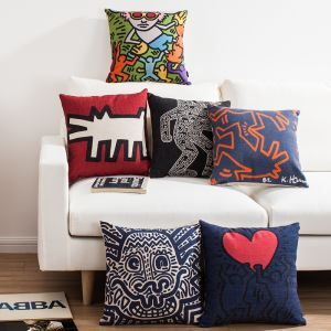 Keith Haring's Masterpiece Sofa Office Linen Cushion Cover Pillow Cover