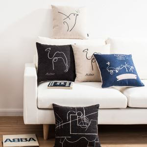 Modern Simple Picasso Sketch Sofa Office Linen Cushion Cover Pillow Cover 5 Designs
