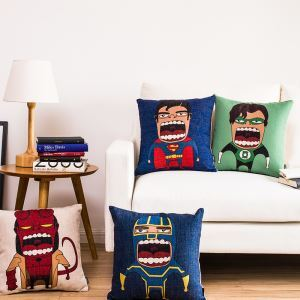 Modern Simple Super Hero Funny Sofa Office Cushion Cover Pillow Cover
