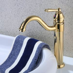 Vintage Ti-PVD Golden Single Handle Sink Faucet