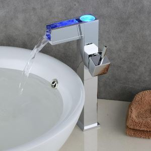 Modern Electroplating LED Sink Faucet Single Handle