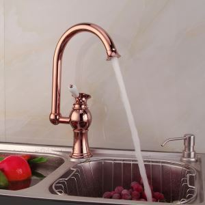 Modern Electroplating Rose Golden Single Handle Kitchen Faucet